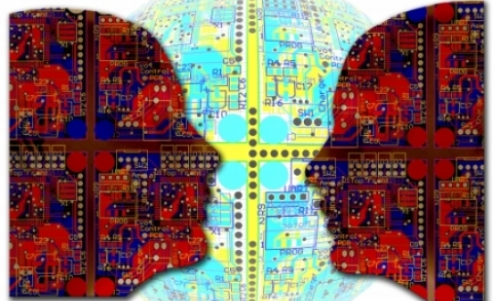 illustration of artificial intelligence - two heads and at the background the world with all kinds of connections as a symbol for a changing and digital world