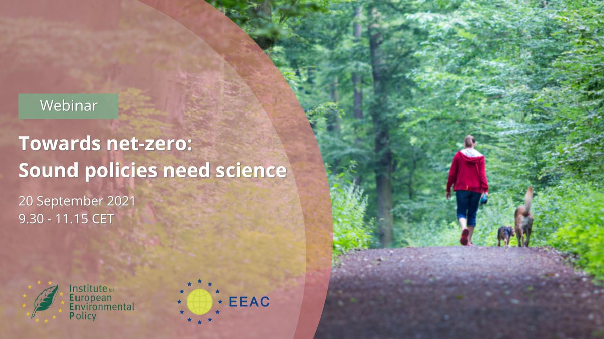Photo of walker in the woods with title and date of the webinar: Towards net-zero: Sound policies need better science
